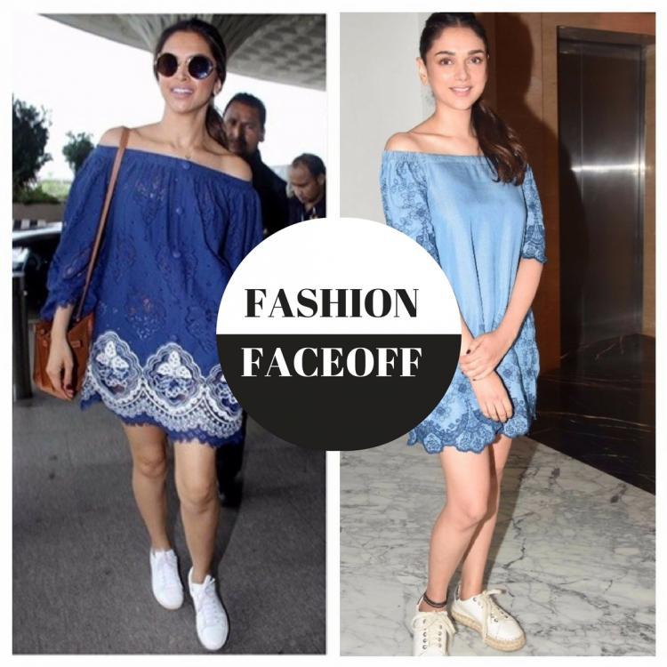 फैशन फेसऑफ़: दीपिका पादुकोण या अदिति राव हैदरी, किसने पहनी है ब्लू बारडॉट ड्रेस बेहतर?