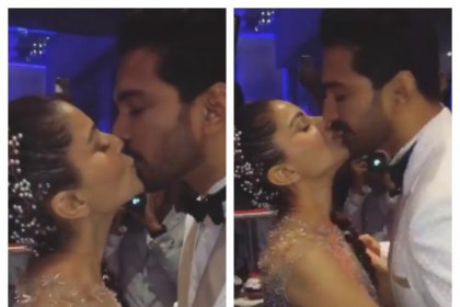 रिसेप्शन में पति संग रोमांटिक हुईं रुबीना दिलैक, Kiss Video हुआ वायरल