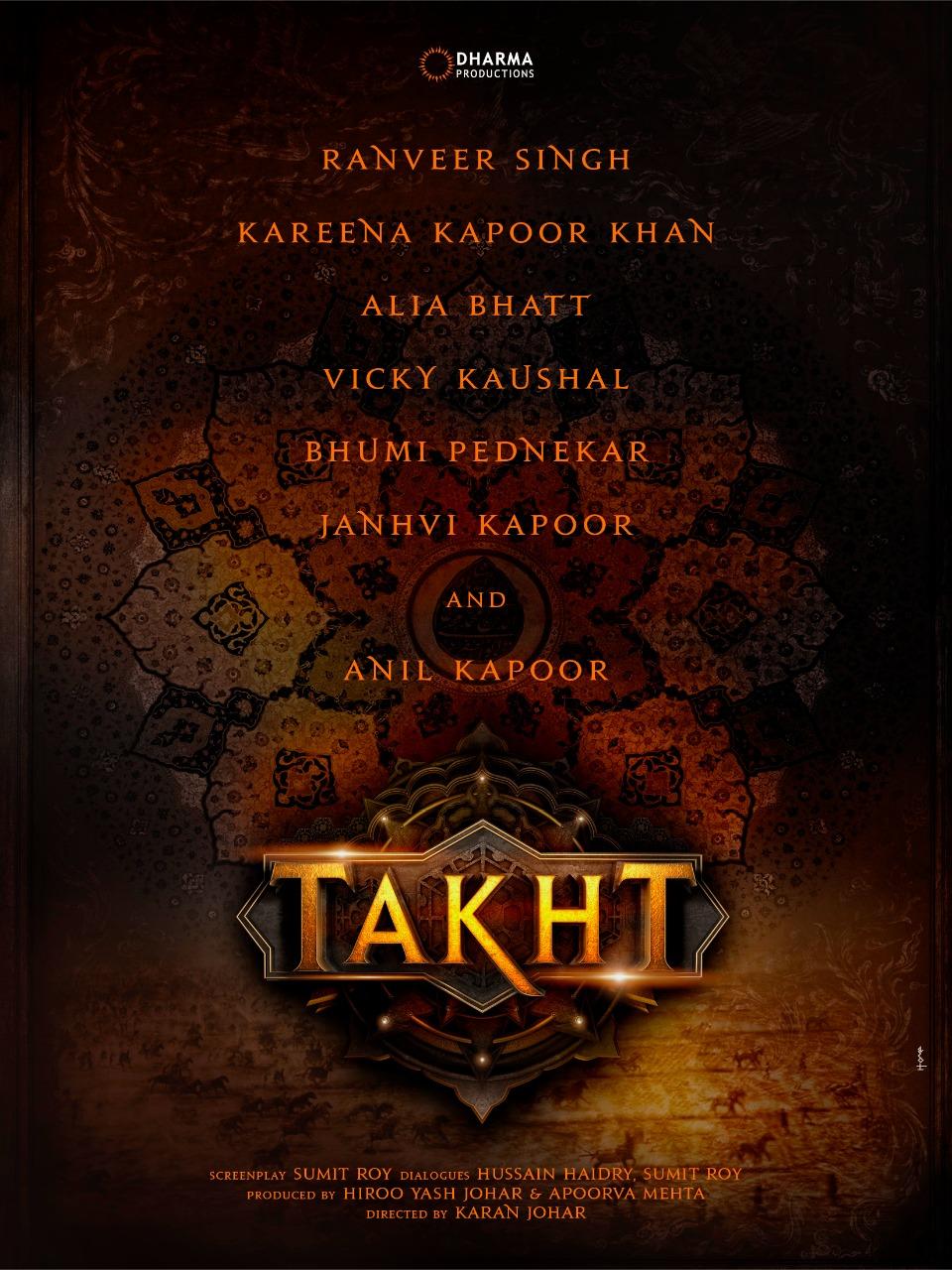 करण जौहर बनायेंगे 'तख़्त' रणवीर, करीना, आलिया के साथ होंगी जाह्नवी, यहाँ देखिये पहला LOOK