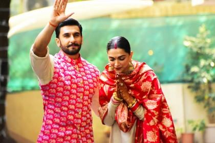 ससुराल पहुंची दीपिका पादुकोण, रणवीर सिंह के हाथों पर यूं दिखा 'मस्तानी' का नाम