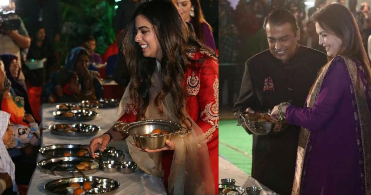 ईशा अंबानी की शादी से पहले उदयपुर में मुकेश अंबानी की 'अन्न सेवा' खाना खिलाते नजर आया अंबानी परिवार
