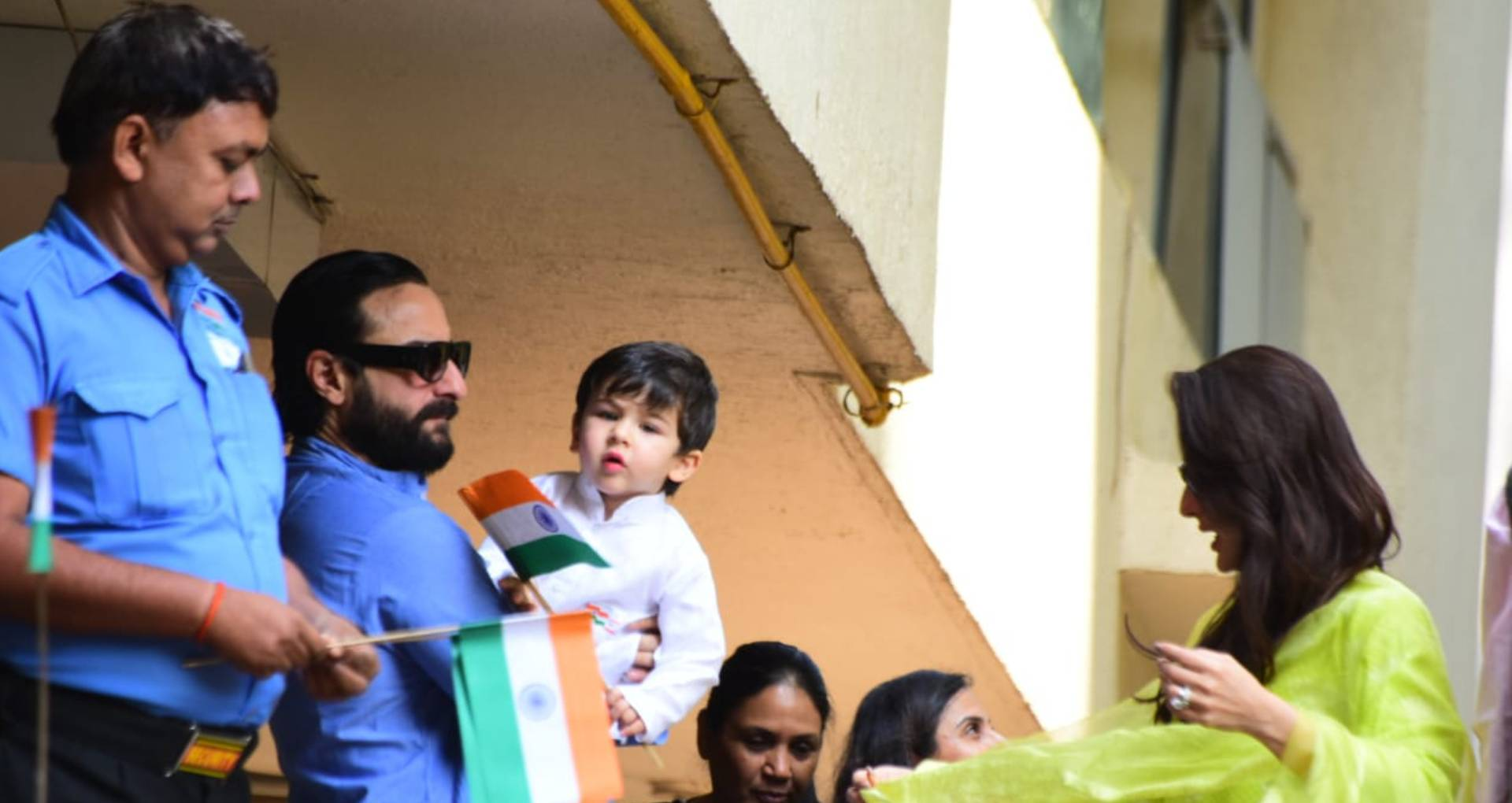 Taimur Ali Khan Flag hoisting with Saif ali Khan