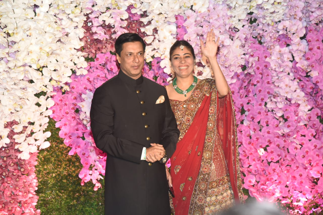 Madur Bhandarkar with Wife Akash Ambani Shloka Mehta Wedding