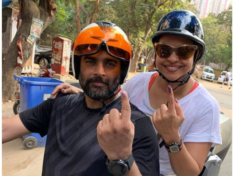R Madhvan with Sumona