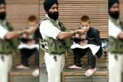 CRPF Havaldar Iqbal Singh feeds his lunch to a paralytic child Srinagar Video Viral on Social Media