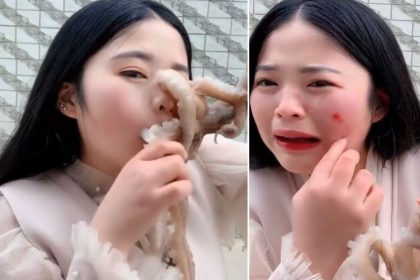 Chinese blogger tries eating octopus alive and faced its consequence video viral