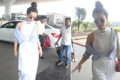 कंगना रनौत का एयरपोर्ट पर दिखा स्पोर्टी लुक, व्हाइट आउटफिट में क्यूट लग रहीं बॉलीवुड की क्वीन, देखिए तस्वीरें