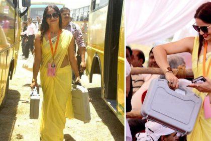 Reena Dwivedi Peeli saari wali mahila Lucknow PWD Employee