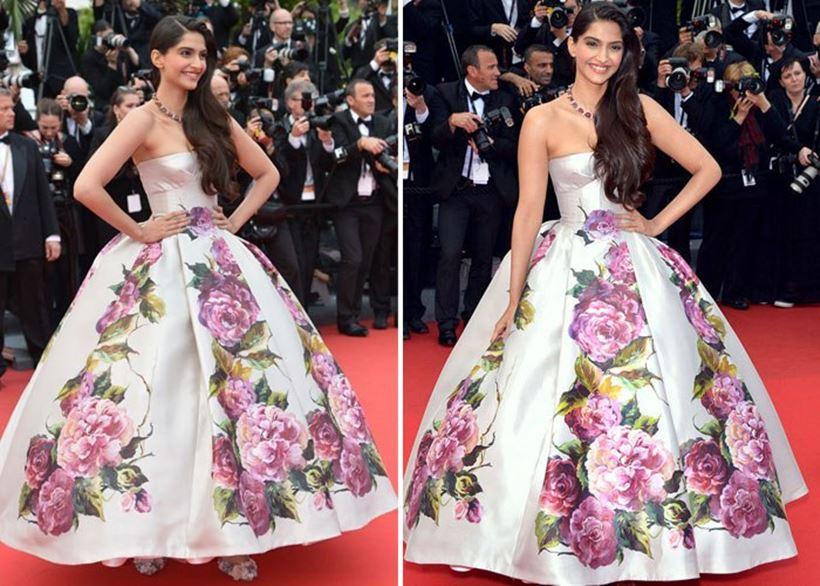 सोनम कपूर का ये फ्लावरी गाउन समर में एक फ्रेश लुक है जो बहुत ही रिफ्रेशिंग सा लग रहा है| सोनम कपूर ने Cannes Film Festival 2013 में ये ऑउटफिट पहनी थी|