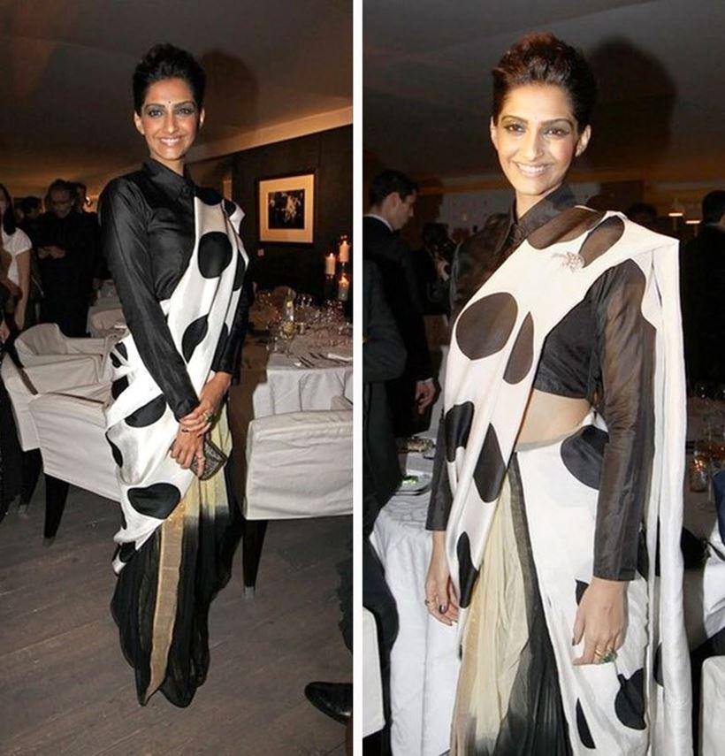कान फिल्म फेस्टिवल (Cannes Film Festival 2011) में सोनम कपूर (Sonam Kapoor Photos Cannes 2011) ने मसाबा गुप्ता की साड़ी पहनी थी|