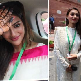 Nusrat Jahan Mimi Chakraborty who are first time MP from TMC party took oath in Parliament
