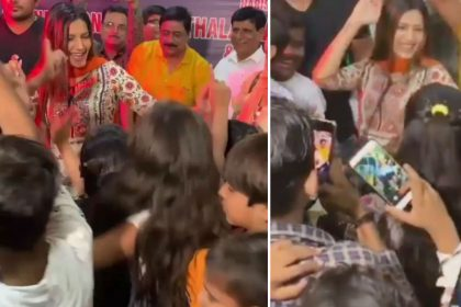 Sapna Choudhary viral video actress dancing with children and they started to shoot video