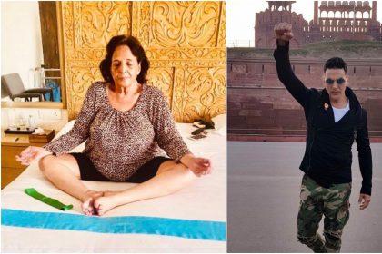 अक्षय कुमार और उनकी माँ अरुणा भटिआ (Twitter)