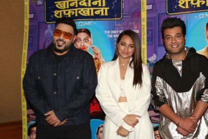 Khandaani Shafakhana Movie Sonakshi Sinha Badshah Varun Sharma in Delhi for film promotion watch video