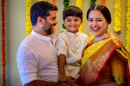 Sameera Reddy blessed with a baby girl shares first photo on instagram husband Akshai Varde