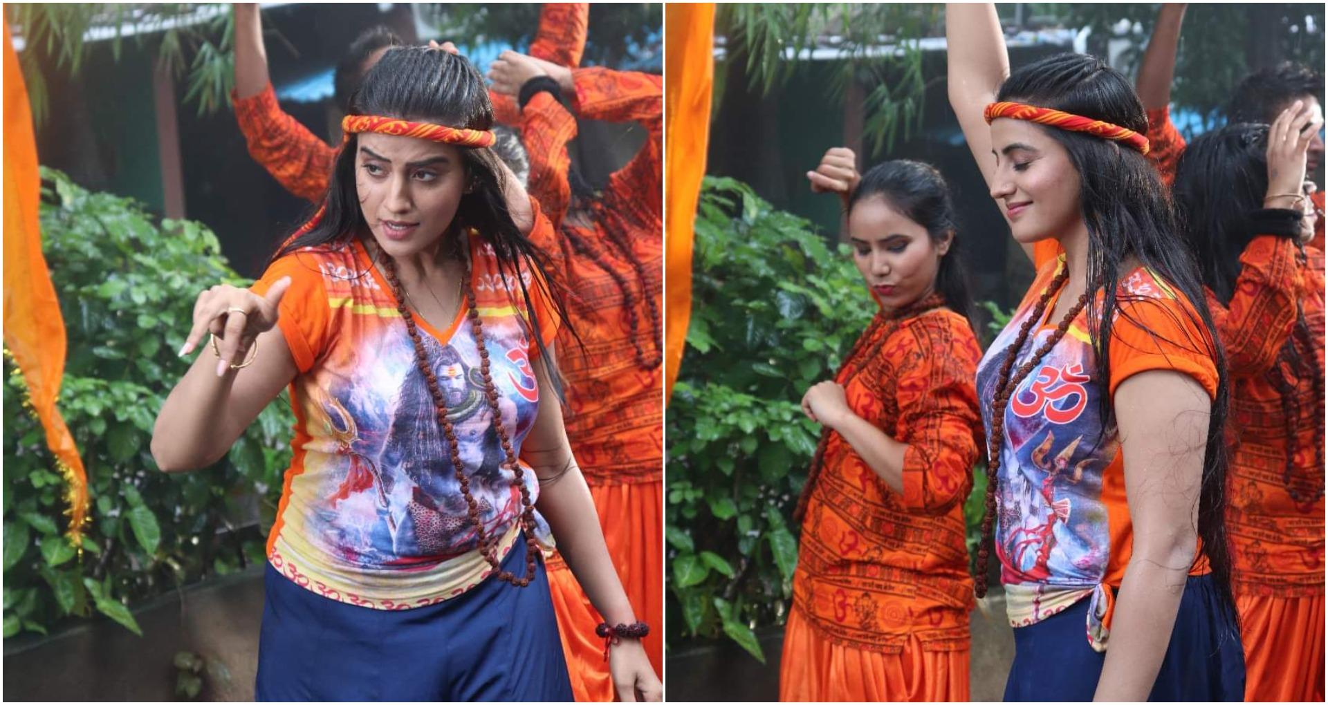 भोलेनाथ की भक्ति में लीन भोजपुरी एक्ट्रेस अक्षरा सिंह ने बारिश में भीगते हुए की शूटिंग, देखें तस्वीरें