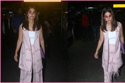 बिना मेकअप के पैंट सूट पहनकर एयरपोर्ट पर स्पॉट हुईं हिना खान (विरल भयानी)