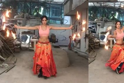 Nora Fatehi Dance with Fire Hoops