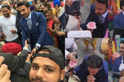 Ranveer Singh gives flower to elderly woman video viral in Southall London met fans 83 The Film Kapil Dev Biopic