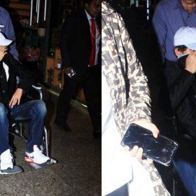 मुंबई एयरपोर्ट पर मुंह छुपाकर व्हीलचेयर पर बैठे दिखे इरफान खान (फोटो- मानव मंगलानी)