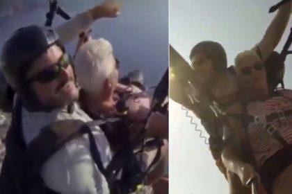 Danish woman, Viral Video, Video Viral, parachute, paragliding