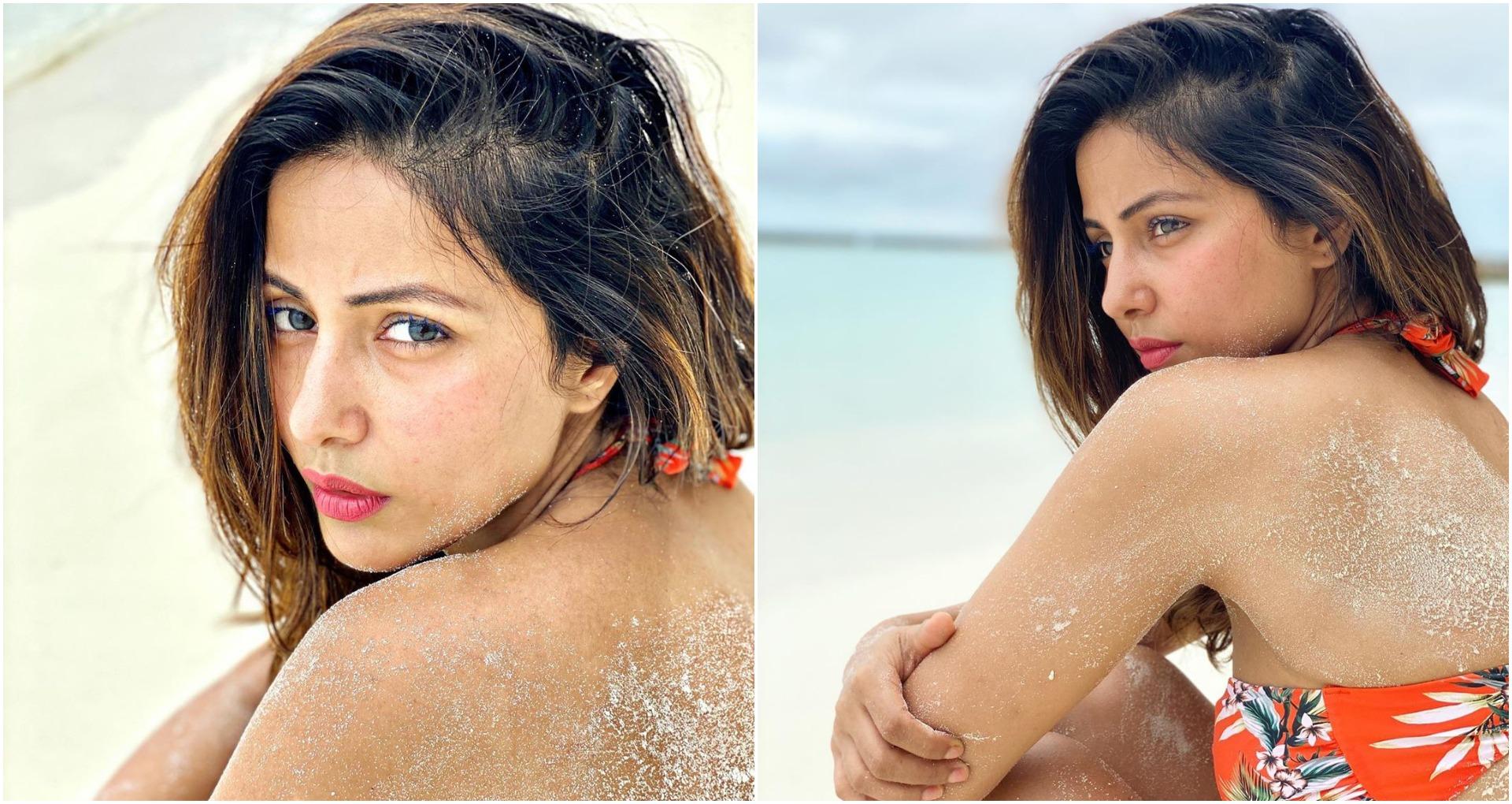हिना खान की पीठ पर रेत देख पगलाए फैंस, टीवी क्वीन की तस्वीरों पर जोरदार कमेंट