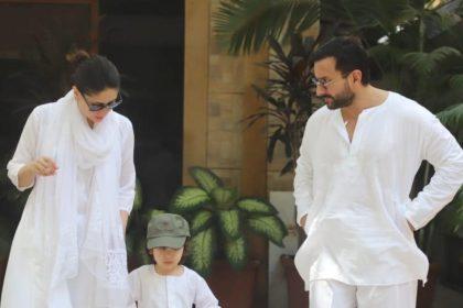 सैफ अली खान, करीना कपूर खान, तैमूर अली खान को सफेद रंग के कपड़ों में स्पॉट किया गया जब वे होली मानाने निकले