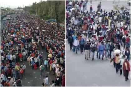 Coronavirus Effects: आनंद विहार और धौला कुआं पर हज़ारो की तादात पर प्रवासी मजदूरों की उमड़ी भीड़