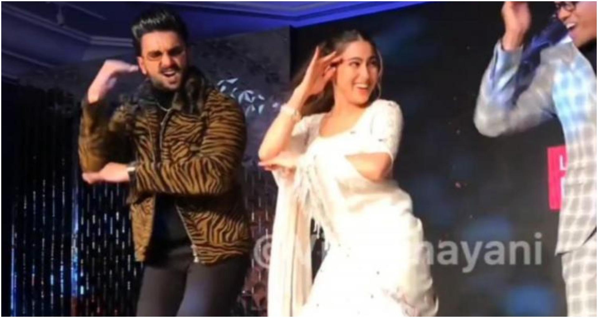 रणवीर सिंह और सारा अली खान ने 'आंख मारे' गाने पर फिर लगाए ठुमके, वीडियो हो रहा वायरल, देखें वीडियो