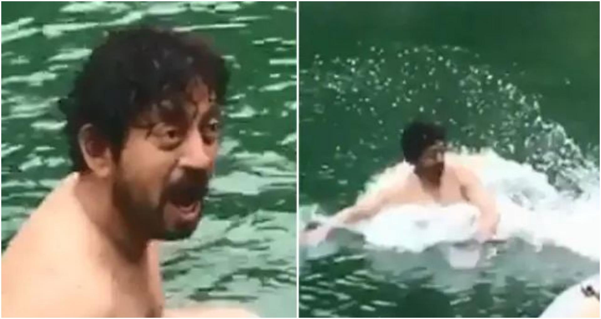 इरफान खान के बेटे ने शेयर किया थ्रोबैक वीडियो, जब इरफान ने लगा दी ठंडे पानी के तालाब में छलांग