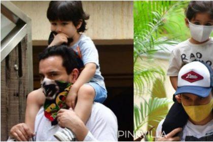 सैफ अली खान के कंधे पर बैठे बेटे तैमूर अली खान, तस्वीरों ने मचाई इंटरनेट पर सनसनी