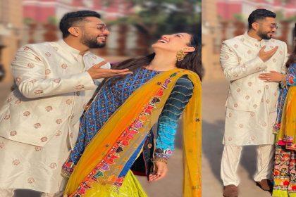 Gauahar Khan Photos: कानों में झुमका डाले गौहर खान का मल्टीकलर शरारा लुक! देखें तस्वीरें