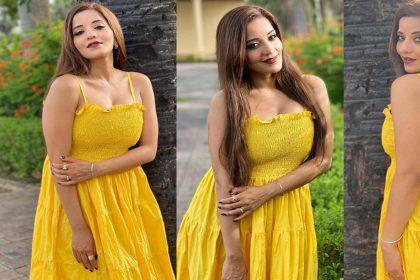 Monalisa Photos: मोनालिसा ने येलो ड्रेस में दिखाईं बोल्ड अदाएं! फोटो देख फैंस के उड़े होश!