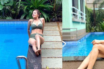 बिकिनी पहन पूल में आराम फरमाती नजर आईं मोनालिसा! देखें Photos