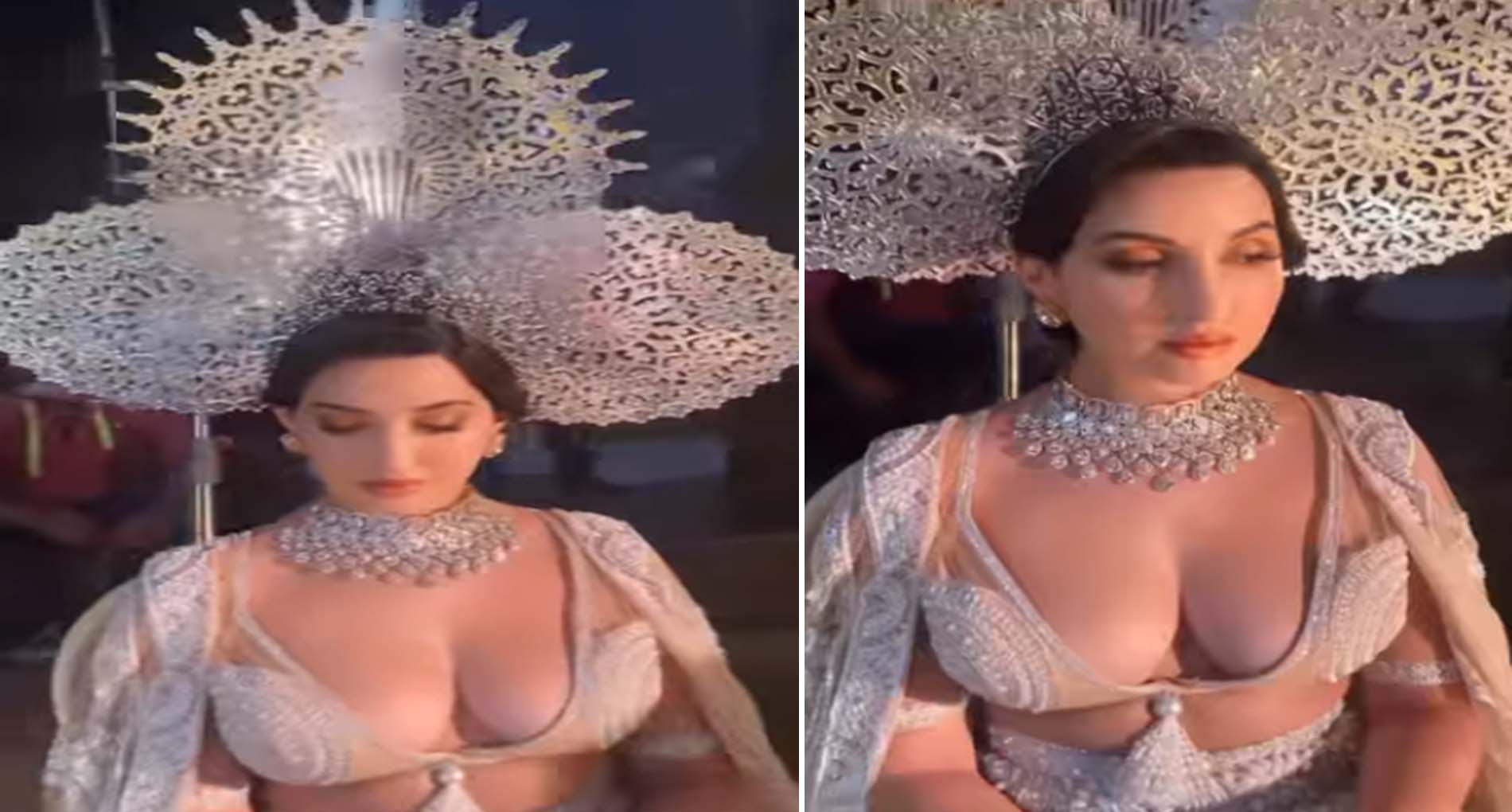 Nora fatehi latest video: मोतियों की ड्रेस और सिर पर ताज के साथ वायरल हुआ नोरा फतेही का Video