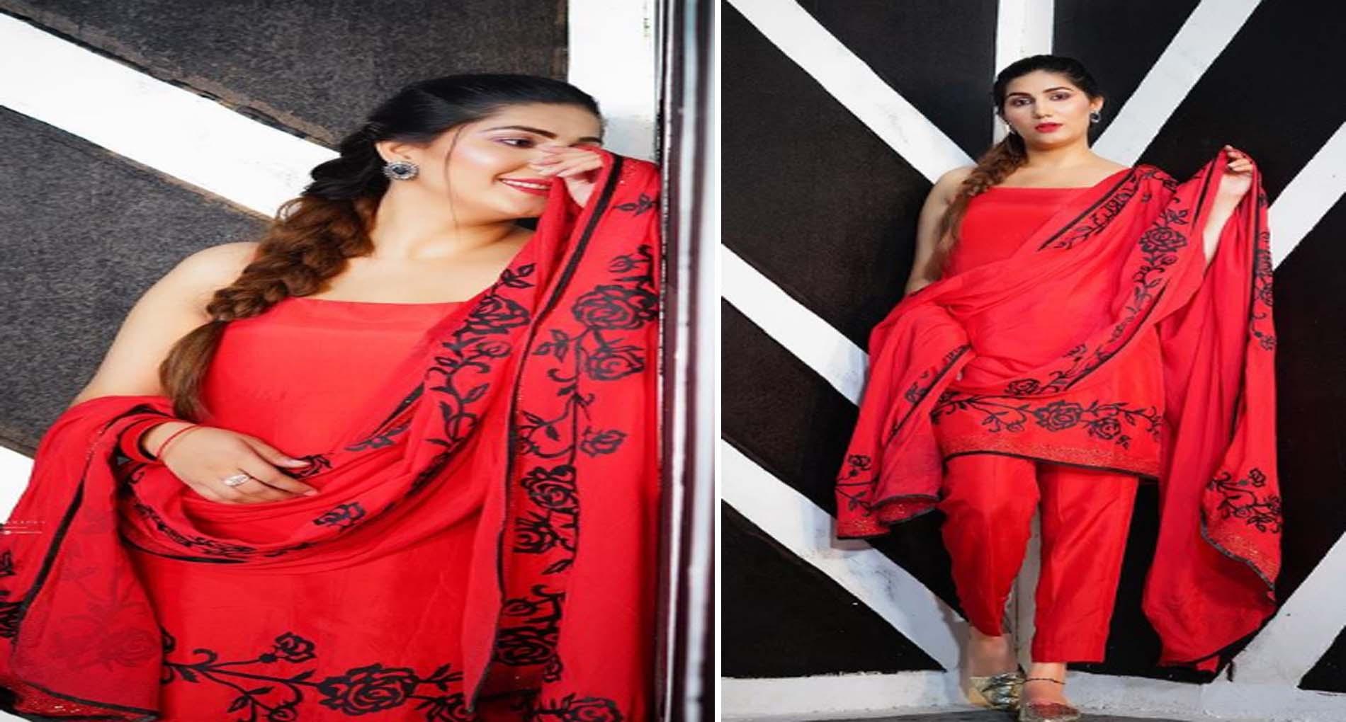 Sapna Choudhary Photos: रेड सूट पहन सपना चौधरी ने ढाया कहर! देखें तस्वीरें